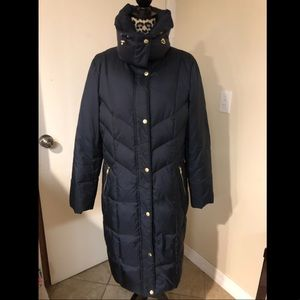 Navy Cole Haan long puffer EUC L/XL gold hardware